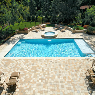 Hot tub - small traditional backyard concrete paver and rectangular lap hot tub idea in Chicago