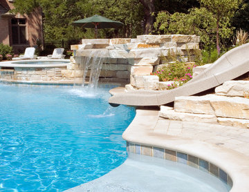 Northbrook, IL Freeform Pool with Hot Tub, Waterfall and Slide