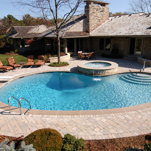 Northbrook, IL Freeform Pool with Round Elevated Hot Tub
