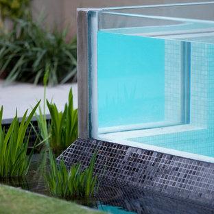 Ispirazione per una grande piscina monocorsia minimalista rettangolare in cortile con pedane