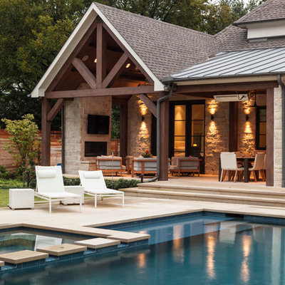 Inspiration for a contemporary custom-shaped pool remodel in Dallas