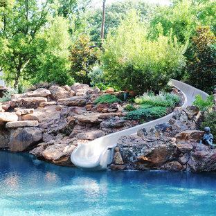 ダラスのトラディショナルスタイルのおしゃれな自然ろ過プール (ウォータースライダー) の写真