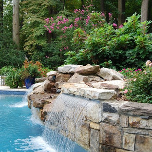 Mid-sized traditional backyard custom-shaped natural pool in DC Metro with a water feature and natural stone pavers.