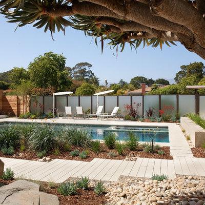 Hot tub - mid-sized contemporary backyard concrete paver and rectangular lap hot tub idea in Santa Barbara