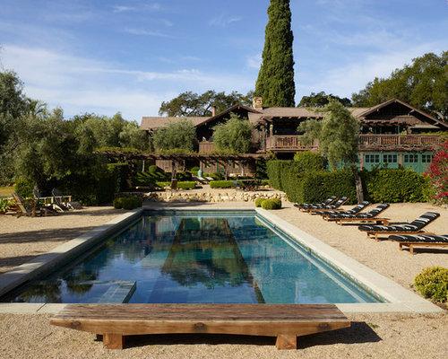 ideen fr rustikale pools im vorgarten in rechteckiger form mit kies in los angeles - Pool Design Ideen Bilder