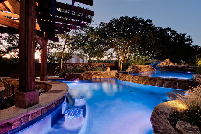 Tropical Pool by One Specialty Landscape Design, Pools & Hardscape