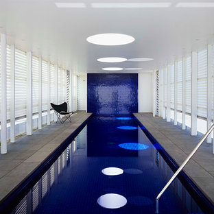 Pool - large contemporary indoor stone and rectangular pool idea in Melbourne