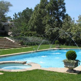 Hot tub - large traditional backyard stone and custom-shaped lap hot tub idea in Orange County