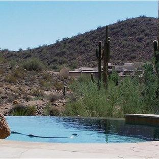 Foto de piscina infinita, clásica, grande, redondeada, en patio trasero, con adoquines de piedra natural