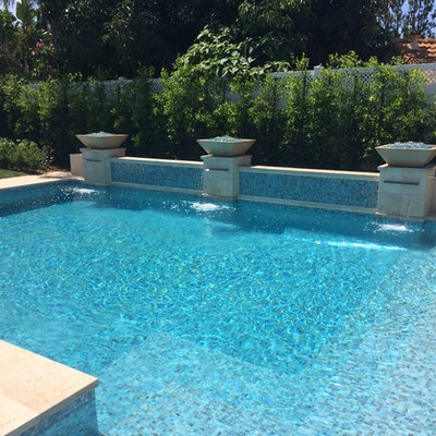 Mid-sized tuscan backyard concrete and rectangular lap hot tub photo in Los Angeles