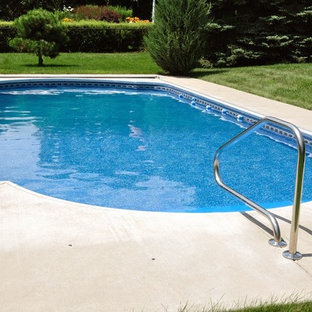 Example of a large backyard concrete and kidney-shaped natural pool design in Denver