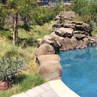 Ejemplo de piscinas y jacuzzis infinitos, mediterráneos, grandes, tipo riñón, en patio trasero, con adoquines de hormigón