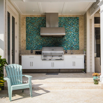 Outdoor Kitchen for Straight Line Lap Pool in Fort Lauderdale
