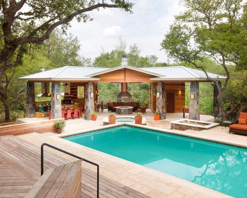piscine contemporaine avec un abri de piscine ou pool house photos et id es d co de piscines. Black Bedroom Furniture Sets. Home Design Ideas