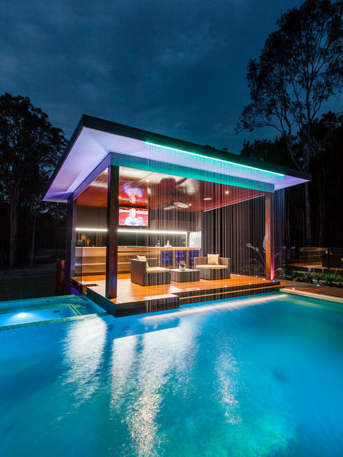 trendy pool house photo in brisbane