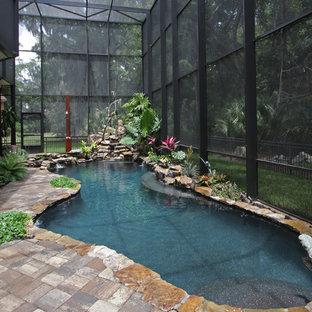 Imagen de piscina tropical interior y a medida