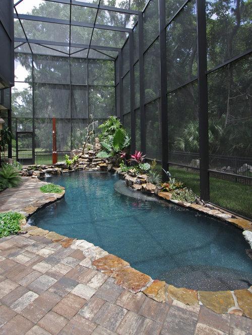 Island Style Indoor Custom Shaped Pool Photo In Jacksonville