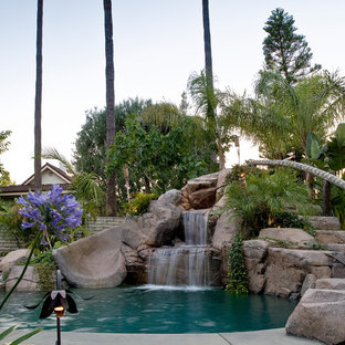 Photo of a tropical natural pool in Orange County with a water slide.