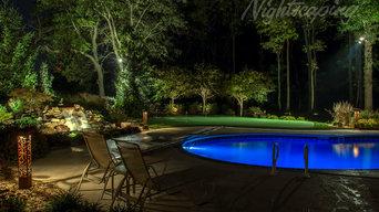 Outdoor Pool Area - 6 Series Aspen CorTen Steel Light Bollard
