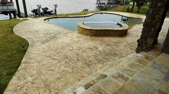 Outdoor Pool Decks - Stamped Concrete with Stain