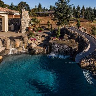 Ejemplo de piscina con tobogán grande, tipo riñón, en patio trasero, con adoquines de piedra natural