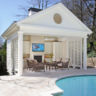 Inspiration for a timeless pool house remodel in Atlanta