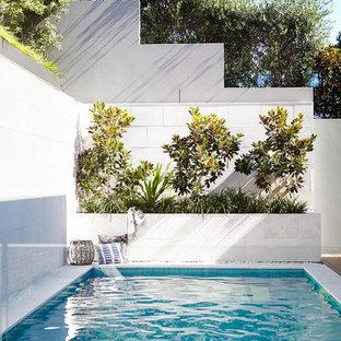 Inspiration pour une petit piscine arrière design rectangle.
