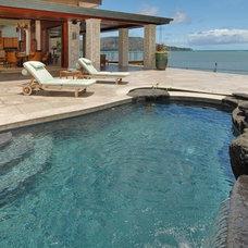 Tropical Pool by Archipelago Hawaii Luxury Home Designs