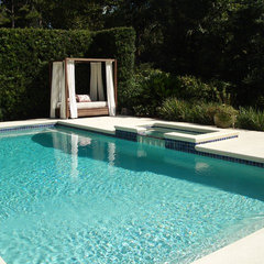 modern pool by Jacki Mallick Designs, LLC.