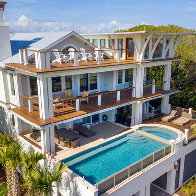 Inspiration for a modern aboveground pool remodel in Charleston with decking