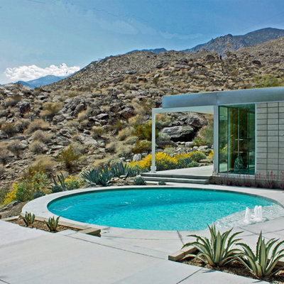 Pool - mid-sized 1960s backyard round and concrete pool idea in Los Angeles