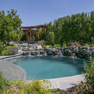 Ejemplo de piscina con fuente natural, exótica, pequeña, redondeada, en patio trasero, con adoquines de piedra natural