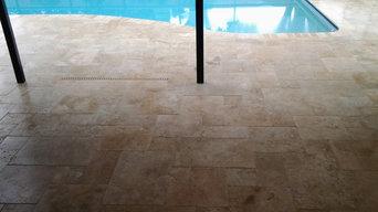 Paver House Travertine Paver Pool Deck Installation