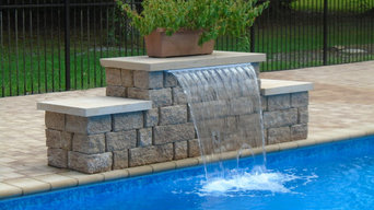 Paver Pool Deck and Stone Sheer Descent