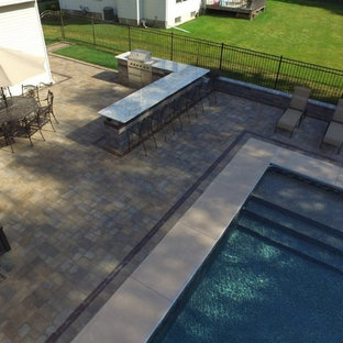 Paver Pool Patio with Outdoor Kitchen