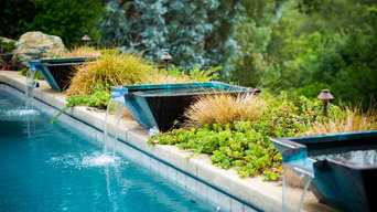 Pebble Pool with Copper Pot Water Features