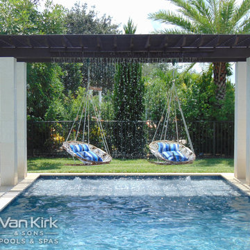 Pergola with Sheer Decent for a Classic Straight Edge Pool in Parkland, Florida