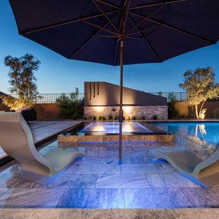 Perimeter Overflow Spa with Silver Travertine Baja Step/Lounge Deck