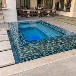 Ispirazione per una grande piscina classica personalizzata dietro casa con lastre di cemento