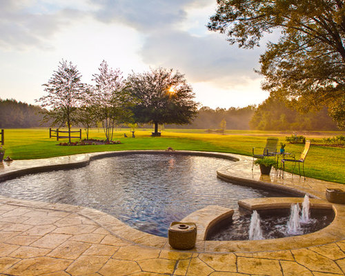 Stamped concrete around pool home design ideas pictures for Decor around swimming pool