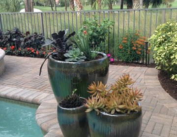 Planters accentuate pool areas and patios