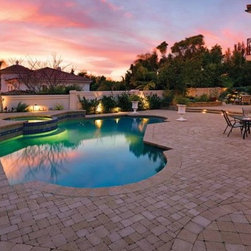 Pool and Patio Space at Sunset -