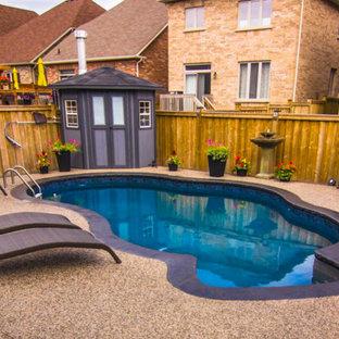 Diseño de piscina clásica renovada, pequeña, tipo riñón, en patio trasero, con suelo de hormigón estampado