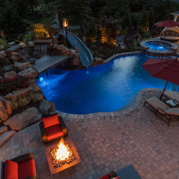 Pool & Spa with Grotto and Fire Features