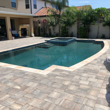 Pool and Spa with Paver Deck in Orlando, Florida
