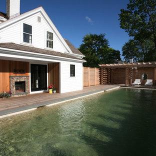 Foto di una grande piscina monocorsia boho chic
