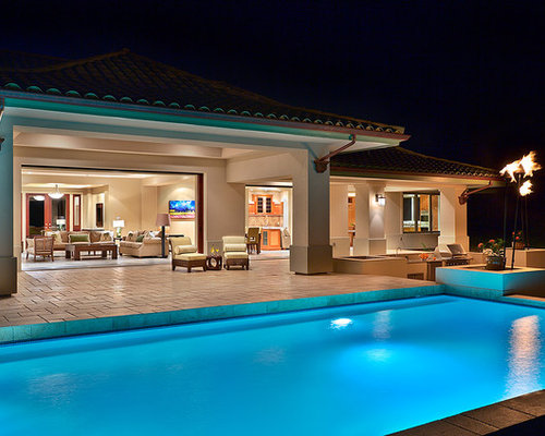 Covered lanai houzz for Pool design hawaii