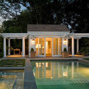 Pool house - traditional rectangular pool house idea in Boston