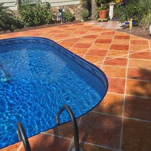 Pool Deck & Patio: Custom Diamond Pattern & Stained Concrete Overlay
