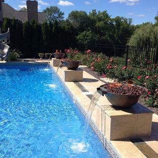 Pool design with Travertine and Bluestone inlay